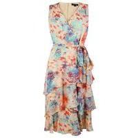 Tahari ASL Rose, Coral and Sky Dress, Multi-Coloured