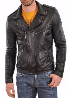 Details about  /Mens Biker Classic Diamond Motorcycle Antique Brown Vintage Leather Jacket