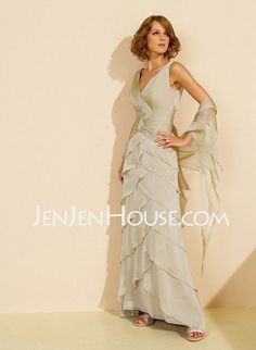 6548c66a1f  US  152.99  A-Line Princess V-neck Court Train Chiffon Charmeuse Mother of  the Bride Dress With Beading Cascading Ruffles - JenJenHouse