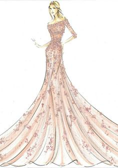Elie Saab sketch, recreation of Disney princess Aurora, from sleeping beauty. #bocetos #moda #vestidos