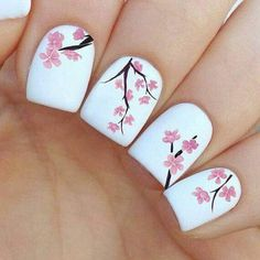 Soft Simple Pink Flower Summer Art on Milk White Polish For Square Nails