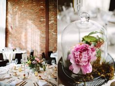 bell jar centerpieces - photo by Pat Furey http://ruffledblog.com/roundhouse-beacon-wedding