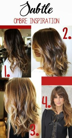 Caramel light brown hair with ombre highlights