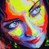 """Eva's mystic look"",acrylic, fluo, canvas 80x80 cm"