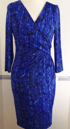 Ralph Lauren Dress Size 4 Blue Tonal Polyester Blend Faux Wrap Dress NWT #RalphLauren #WrapDress #WeartoWork
