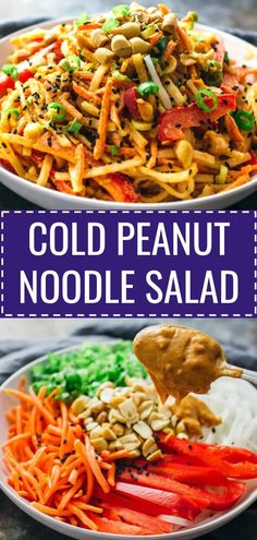 Cold peanut Zoodle salad - Cool off on a hot summer day with this COLD peanut noodle salad! This Thai-inspired recipe consists of noodles, healthy vegetables, a tasty and spicy peanut dressing, and is topped with sesame seeds. This is an easy vegan dish that you can whip up for weeknight dinners during summer.