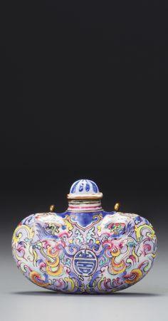 A CANTON ENAMEL 'PHOENIX POUCH' SNUFF BOTTLE<br>QING DYNASTY, YONGZHENG / QIANLONG PERIOD   lot   Sotheby's