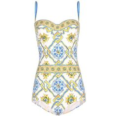 Dolce & Gabbana Printed Swimsuit ($495) ❤ liked on Polyvore featuring swimwear, one-piece swimsuits, swimsuit, multicoloured, swim costume, swimsuit swimwear, dolce gabbana swimwear, bathing suit swimwear and colorful bathing suits