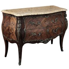 Antique Louis XV Bombe Marble Top Commode  #antique #furniture #armoire. Available at www.inessa.com