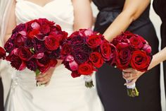 red+and+white+wedding+bouquets | Hand-tied bouquets made of red charm peonies, black bacarra roses ...