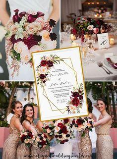 Fall Wedding invitations with geometric pattern and burgundy and blush floral EWIM007