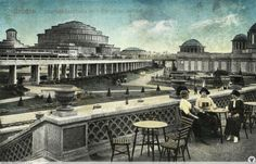 """classicisminmodernity: """" Postcard of the Centennial Exhibition in Breslau, 1913 commemorating the Battle of the Nations in 1813 and Prussia's triumph over Napoleon. On the left is Max Berg's Centennial Hall, and on the right Hans Poelzig's Four Domes. Code Psn Gratuit, Hans Poelzig, Vintage Architecture, World's Fair, Napoleon, Poland, Paris Skyline, Taj Mahal, Past"""