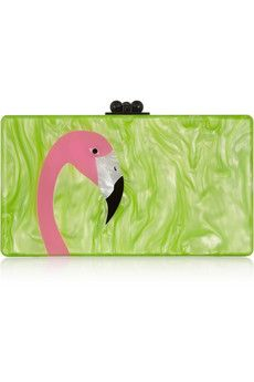Edie Parker Jean Flamingo pearl-effect box clutch | NET-A-PORTER