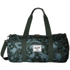 Herschel Supply Co. Sutton Mid-Volume (Jungle Floral Green) Duffel... (1,115 MXN) ❤ liked on Polyvore featuring bags and luggage