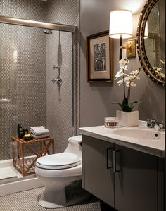 White penny tile, dark grout, Barbara Barry Refined Rib Sconce