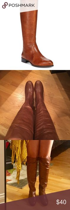 PRICE DROP! MAKE AN OFFER! Nine West Leather Boots Gorgeous Cognac Leather Nine West boots. Perfect for the fall weather - goes with jeans, skirts, dresses, and pants for work. Very comfortable and stylish! Worn once. Nine West Shoes Over the Knee Boots