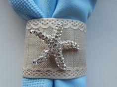 TAN BURLAP w LACE Napkin Ring with Rhinestone Starfish, 25 Starfish Napkin…