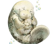Watercolor Nursery Art. Mum and Me Mom and baby by PosieMeadows