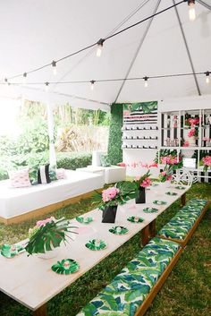 Modern + tropical bridal shower idea - summer bridal shower idea - tropical flamingo bridal shower {Courtesy of Kara's Party Ideas} #bridalshower