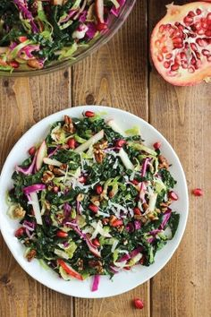 This colorful fall salad is beautiful enough to be served at a holiday gathering and hearty enough to be a quick and easy lunch. Top your kale, Brussels sprouts, and red cabbage with candied maple pecans, sweet apples, freshly grated Parmesan cheese, and tart pomegranate seeds.