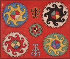 antique ILGICH, Lakai, Uzbekistan, silk embroidery, XIXth century, circa cm 54X53  ref 7253