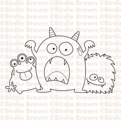 Digital stamp -- Three Monsters. $2.50, via Etsy.