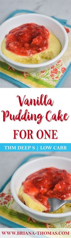 This soft Vanilla Pudding Cake for One is an amazingly delicious low-carb, THM Deep S dessert! Sugar/gluten/dairy/nut free and perfect for THM Fuel Cycles! Low Carb Desserts, Low Carb Recipes, Healthy Recipes, Healthy Desserts, Diabetic Desserts, Healthy Tips, Vanilla Pudding Cake, Pudding Desserts, Pudding Recipes