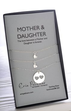 * * * A set of 3 necklaces for the love between MOTHERS & DAUGHTERS * * *  - - - {{ ITEM DETAILS }} - - -  One Mother 18mm pendant, with heart cut