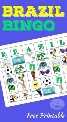 A colorful set of bingo cards and a fun game cube to learn about Brazil. Plus, some fun facts to go along with the game cards. For kids of all ages. Perfect for learning about Brazil ahead of the Olympics. Kids Learning, Learning Activities, Geography Activities, Zumba Kids, Little Passports, Learn Brazilian Portuguese, Portuguese Lessons, Brazil Carnival, World Thinking Day