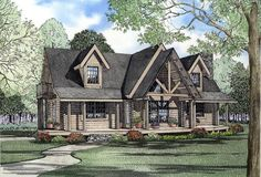 #Log #HousePlan 61139 | A lovely covered deck leads into the living room with rock fireplace for cozy family evenings. A rear covered deck is perfect for grilling. The master suite is privately located on the main level and includes a large walk-in closet, luxurious private bathroom and private deck. Upstairs you'll find a loft area with deck and balcony view into the living room below, a large bathroom and bedroom with plenty of storage and private deck.
