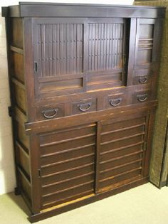 Japanese Antique Kitchen Chest (Tansu - Mizuya dansu). Another traditional japanese storage chest that I just love. I think this would make an amazing centrepiece in any kitchen (and functional, too!). So many draws, shelves and little pockets - and nothing on show. Very neat and stylish.