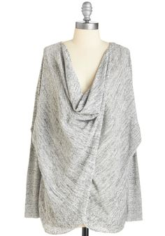 Drapey and You Know It Top. Envelop your figure in this swathing grey sweater for a movie out or wine night in! #grey #modcloth