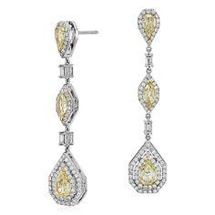 Fancy Yellow Diamond Halo Drop Earrings in 18k White Gold (4.39 ct. tw.) $24000