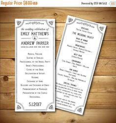 Wedding Program Template  Printable Wedding by birDIYdesign