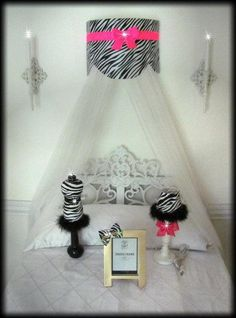 Crib Crown Canopy Cornice Teester Bed Girls bedroom Zebra Princess Suzette Pelmet Hot Pink Bows Baby FrEe Wall hanging So Zoey Boutique SALE Pink Bedding, White Bedding, Baby Bows, Pink Bows, Custom Canopy, Girls Bedroom, Bedroom Loft, Bedroom Ideas, Little Girl Rooms