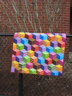 Tumbling Blocks Handmade Patchwork Baby Quilt by PippaQuilts