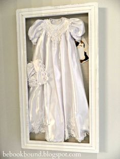 Be Book Bound: Little House on the Prairie: A Vintage Bedroom for Little Girls- frame my littles girls christening gown and cap with a photo of her wearing it to hang on the wall for sweet sentimental art. (also a good way to preserve it for her to use for her little girl one day)