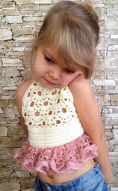 Crochet toddler ruffles top Cr  
