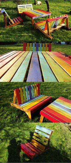 Rainbow painted pallet table set for kids. Very fun!