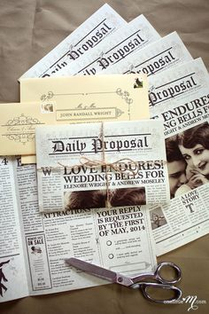 Inspired by the Art Deco era and vintage newspaper layouts, this design features photography of the couple, fully customizable articles for ceremony,