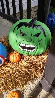 My hulk pumpkin! Fall Arts And Crafts, Halloween Arts And Crafts, Halloween Rocks, Scary Halloween Decorations, Diy Halloween Decorations, Halloween 2019, Halloween Pumpkins, Halloween Crafts, Scary Pumpkin Carving