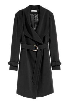 Coat with draped lapels - Black - Ladies | H&M GB
