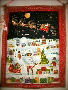 Faire une toile de no l patchwork en tissu noel pinterest patchwork - Calendrier de l avent tissu a remplir ...