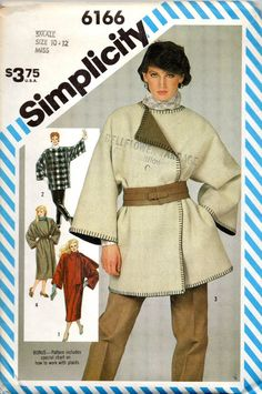 Simplicity 6166 1980s  Misses Wrap Blanket Coat Jacket vintage sewing pattern by mbchills