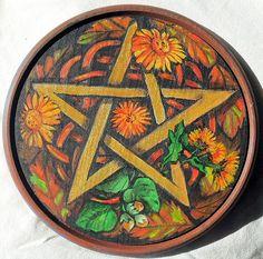 Alchemy Murale-Noire Rose sur Pentagramme-Fantasy déco étoile autel