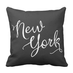 Stylish Black and White New York Typography Throw Pillow.  Have a look at even more at the image link