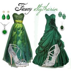 Fancy Slytherin, created by nearlysamantha on Polyvore<-Take out the shoes and earrings other than that AWESOME!