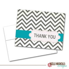 Chevron Thank You Cards  Colors by KelliNichollsDesigns on Etsy, $15.00