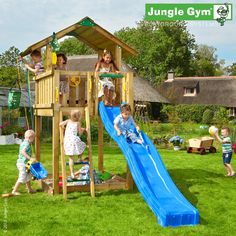 Jungle Chalet - A stylish climbing frame with slide incorporating facilities for all weathers, with a slide, ladder, sandbox and Bucket.