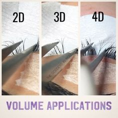 Here is a visual of how a russian volume application looks like. The lash extensions used to create volume lashes are significantly thinner (.10 or less) than the lash extensions used for the classic lash applications. If two eyelash extensions are applied to one natural lash it's described as 2D, if three eyelash extensions are applied to one natural eyelash then it's described as 3D and so on.